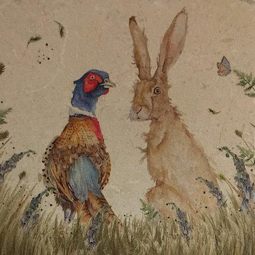 Pheasant & Hare-Marble coasters
