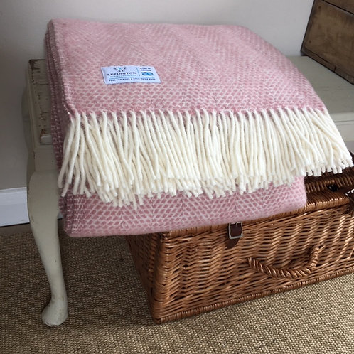 Dusky Pink Beehive- Pure Wool Throw