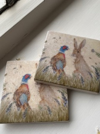 Hare & Pheasant-Pair Marble coasters