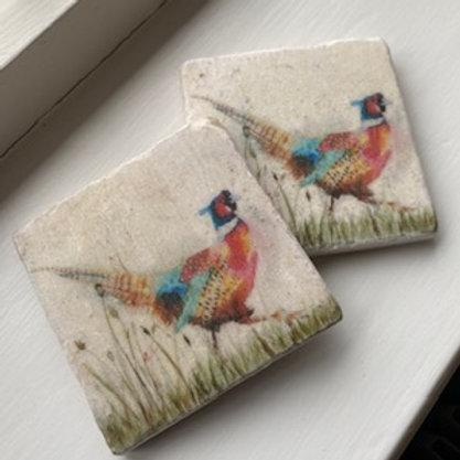 Pheasant - Pair Marble Coasters