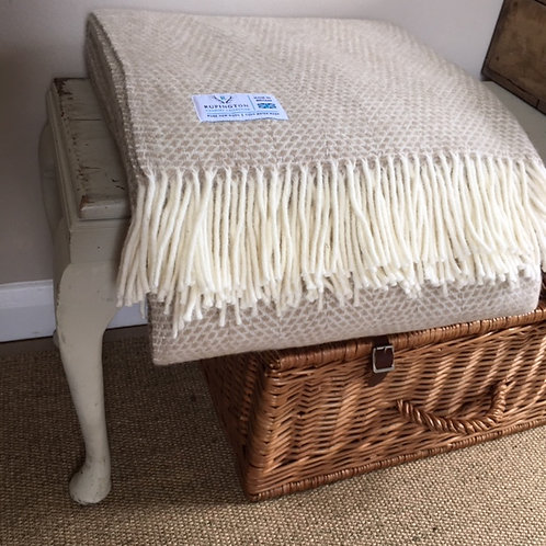 Oatmeal Beehive- Pure Wool Throw