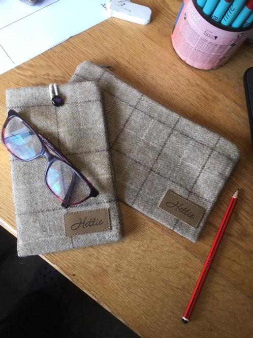 Tweed pouch & zip case