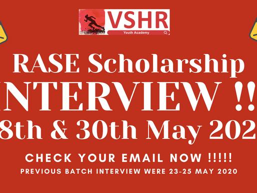 RASE Scholarship 2020 Interview round is in program