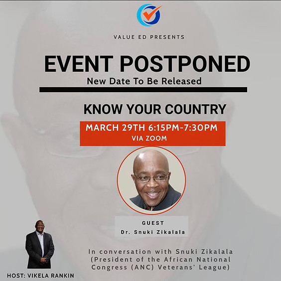 Event Postponed:  Know Your Country