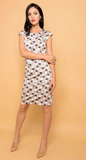 geometric pattern office dress singapore