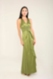 lemon green silk prom dress singapore