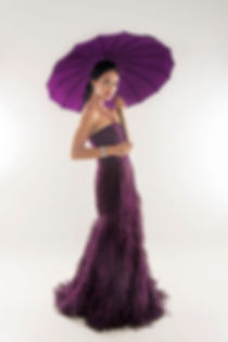 purple tube feather evening gown singapore