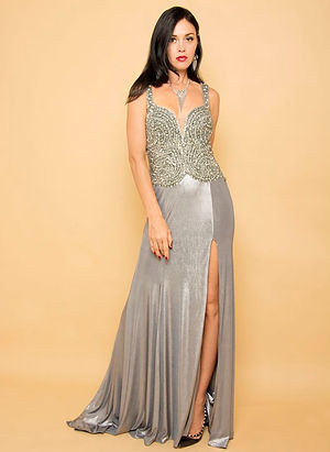 silver vintage sexy evening gown singapore