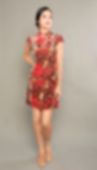 red floral cheongsam singapore