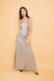 silver sequin v neck evening gown