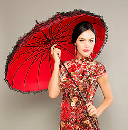 red vintage umbrella, singapore