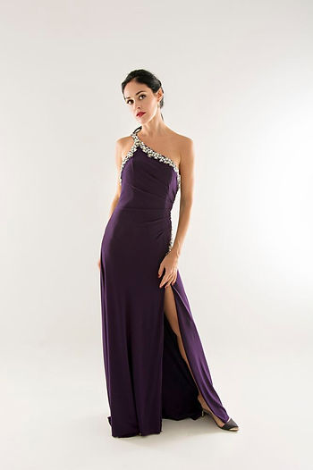 purple one shoulder evening gown singapore