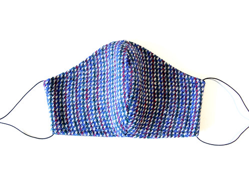 Harris Tweed Blue, Red and White Face Mask
