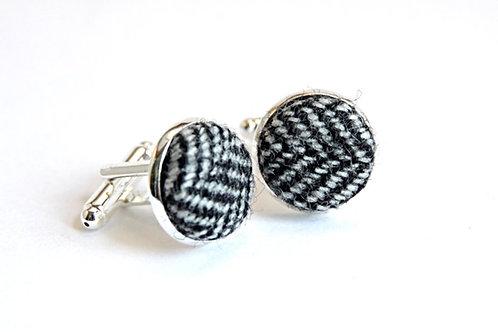 'Crag' Grey Herringbone Tweed Cufflinks