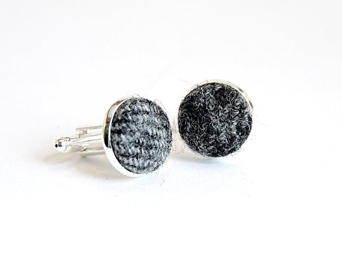 'Cove' Grey Tweed Cufflinks