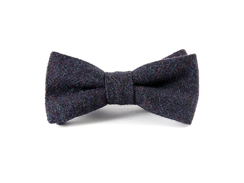 'Navy Herringbone' Tweed 'Sophisticate' Bow Tie