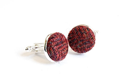 Red Herringbone Tweed Cufflinks