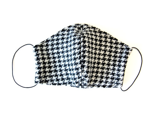 Harris Tweed Black & White Houndstooth Face Mask
