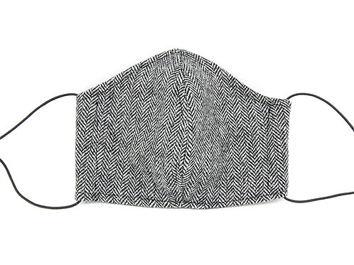 Tweed Black and White Herringbone Face Mask