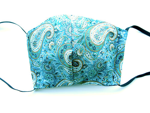 Liberty Print Face Mask - Green Paisley