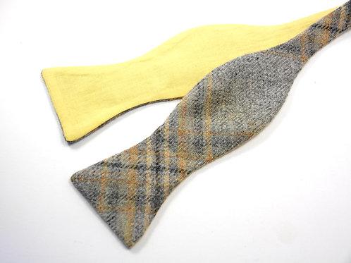 'Lichen' Grey & Yellow Tweed 'Gentleman' Bow Tie