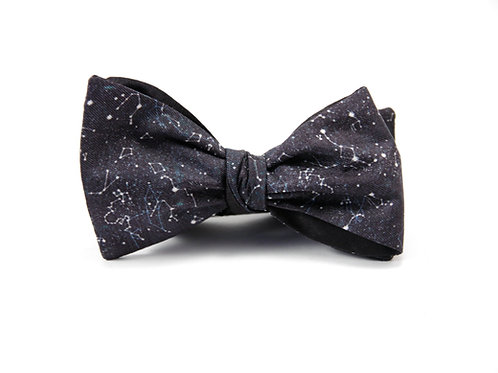 Stargazing in Black Silk 'Gentleman' Bow Tie