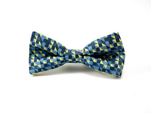 Yellow & Blue Geometric Silk 'Sophisticate' Bow Tie