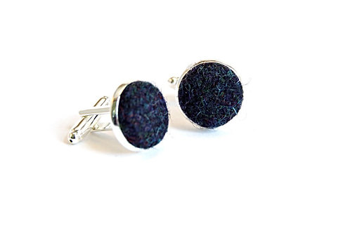 Navy Blue Tweed Cufflinks