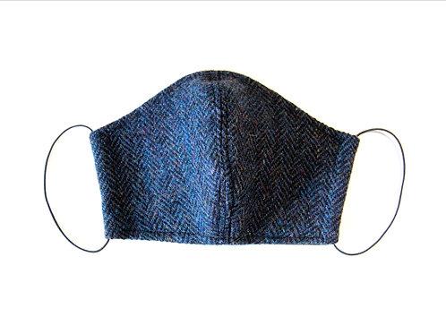 Navy Herringbone Harris Tweed Face Mask