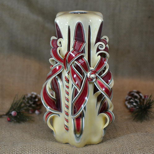 Ivory Christmas Medium Centerpiece Double Bow