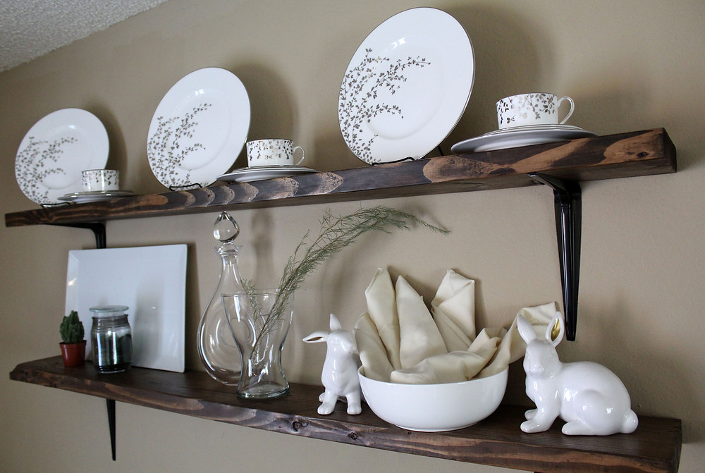 Rustic Shelves that hold so many things that I love.