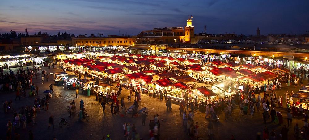 שוק לילי במרקש מרוקו