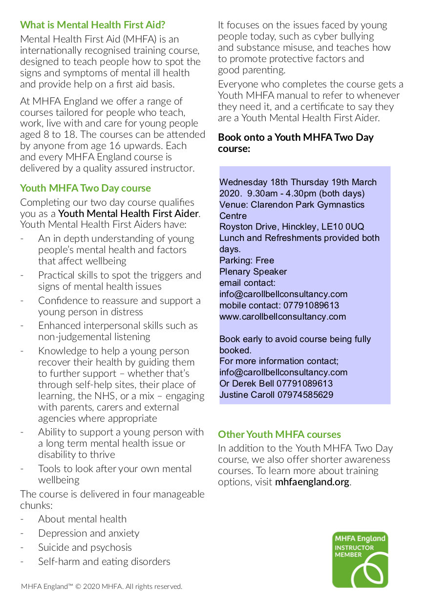 Youth MHFA Two Day only flyer1 - Hinckle