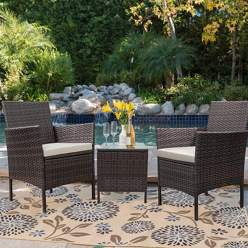 Devoko Patio Porch Furniture Sets 3 Pieces Pe Rattan