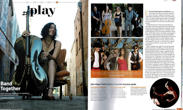 Dirty Cello Sonoma Magazine 1 and 2-page