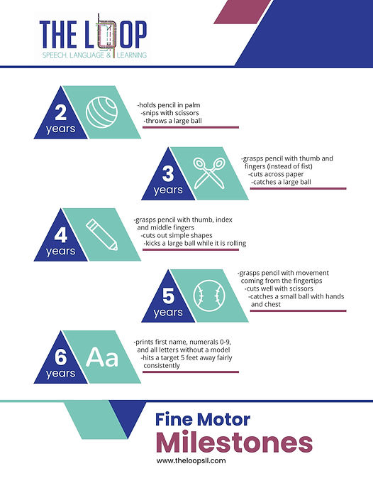 Fine Motor Milestones for children ages 2-6 years old