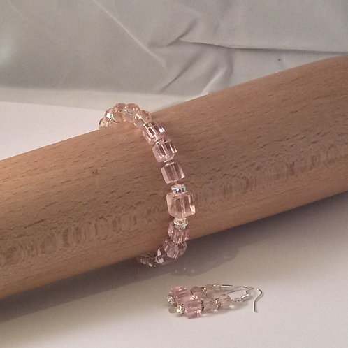 Crystal collection - Crystal Cuboid Bracelet and Earring Set