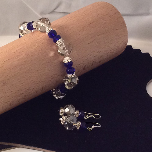 Crystal Rondelle and  Diamante spacer  Bracelet and Earrings