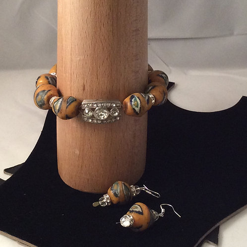 Krobo Bead Bracelet and Earring Set