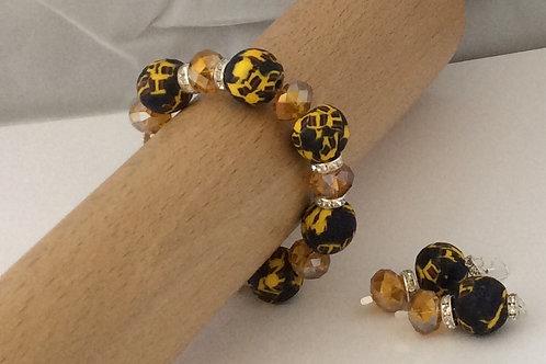 Krobo Bead and rondelle bracelet and earring set