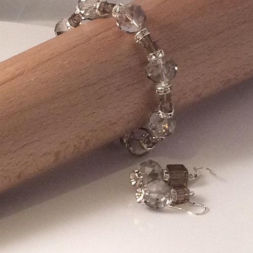 Crystal Elegance Collection Bracelet and Earring Set-