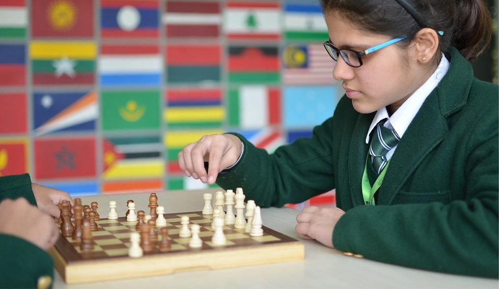 Nehru World School Ghaziabad students' chess game