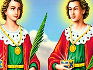 Cosme e Damião sincretizados em Ibeji