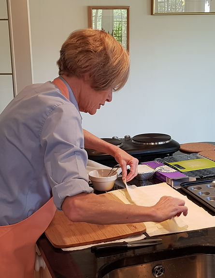 Lyn preparing Filo Pastry canape cups.jp