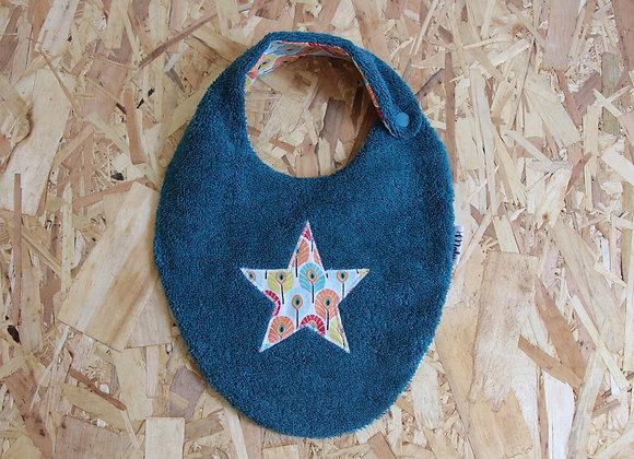 Bavoir étoile plumes-bleu canard