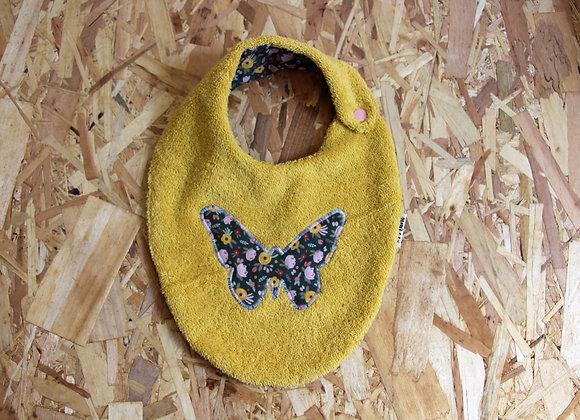 Bavoir papillon fleurs-jaune