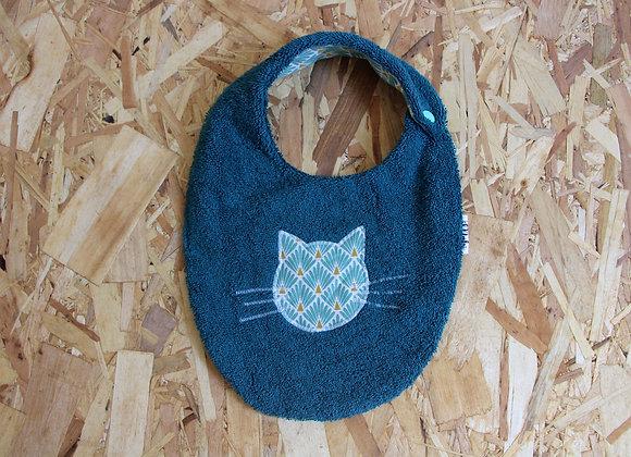 Bavoir chat bleu canard