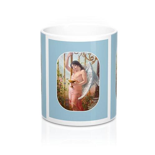 Shabby Blue and White Angel Coffee Mug Rink Roses Vintage Angelic Kitchen Decor