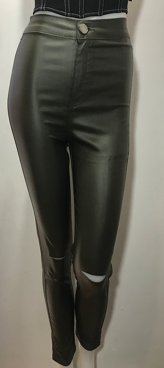 Green pu high wasted trousers
