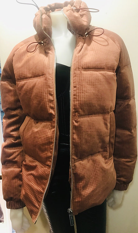 Pink quilted puffa coat